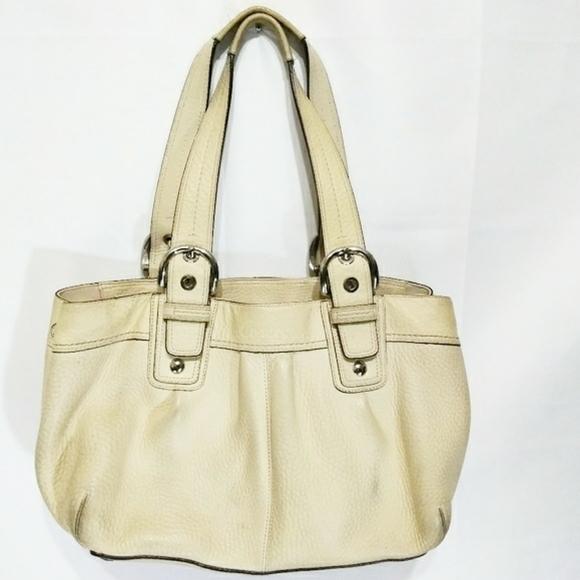 Coach Handbags - Coach Cream White Leather Women Purse Handbag Bag